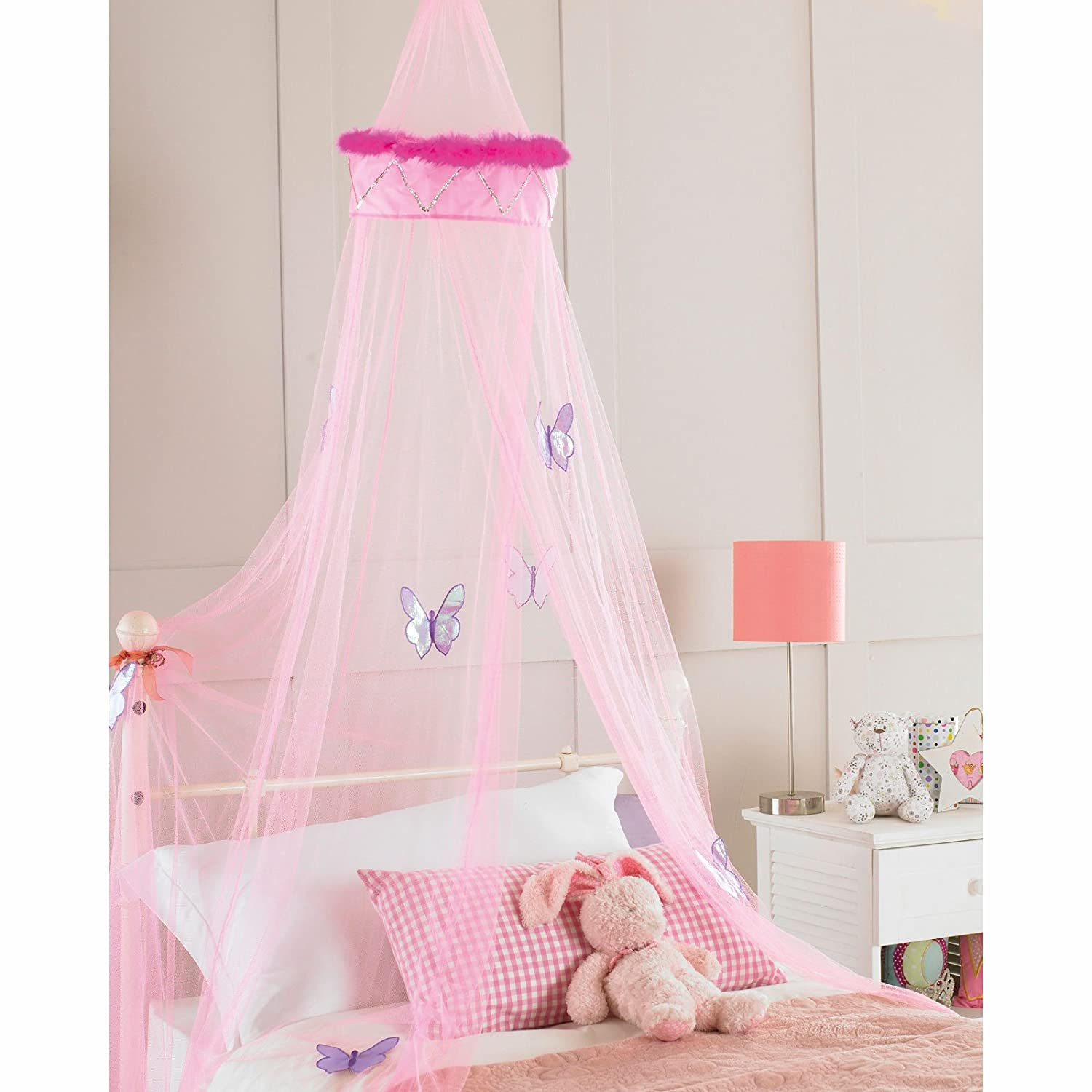 Childrens Girls Bed Canopy Mosquito Fly Netting Net New 30x230cm - Pink Faux Fur Country Club
