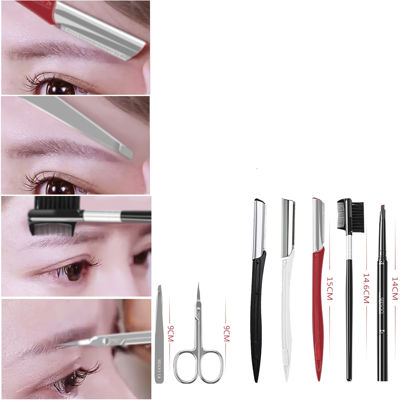 8 In 1 Unisex Eyebrow Kit, 3 Eyebrow Razor (1 Big Blade & 2 Smaller Blade razors),Tweezer And Scissors, Eyebrow Pencil, Eyebrow Brush/Comb With Stencil Shaping Templates, 8pcs In One Travel Bag by LONGRUF (Image #5)