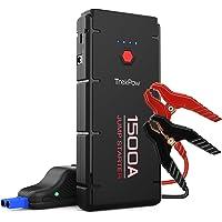 ABOX Arrancador de Coche, Trekpow Jump Starter 12000mAh, 1500A Arrancador de Batería Portátil con USB de 3.0 Puertos de Carga Rápida - para 6.5L de Diesel o 8.0L de Gasolina, 3 Modos de Linterna LED