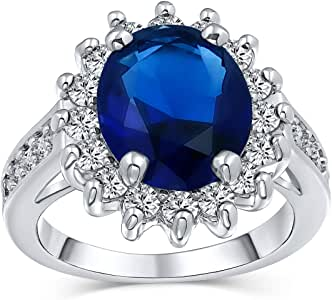 Bling Jewelry 5CT Royal Blue Oval Cubic Zirconia Simulated Sapphire CZ Crown Halo Engagement for Women Pave Band Silver Plated Brass