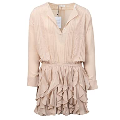 c929de1b34b Faith Connexion Women s Silk Lace Long Sleeve Dress 34 2 Nude at Amazon  Women s Clothing store