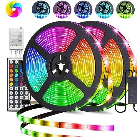 Energieklasse A+ 2x5M 2x150 LED Streifen,Bellababy 10M LEDs Lichtband mit Netzteil 44-Tasten IR Fernbedienung selbstklebend Kit f/ür Innen au/ßen Beleuchtung Deko RGB LED Strip 5050 SMD 300 10M