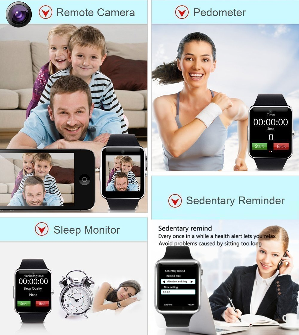 Smart Watch - 321OU Touch Screen Bluetooth Smart Wrist Watch Smartwatch Phone Fitness Tracker with SIM SD Card Slot Camera Pedometer for iPhone iOS Samsung LG Android for Women Men Kids (Black) by 321OU (Image #4)