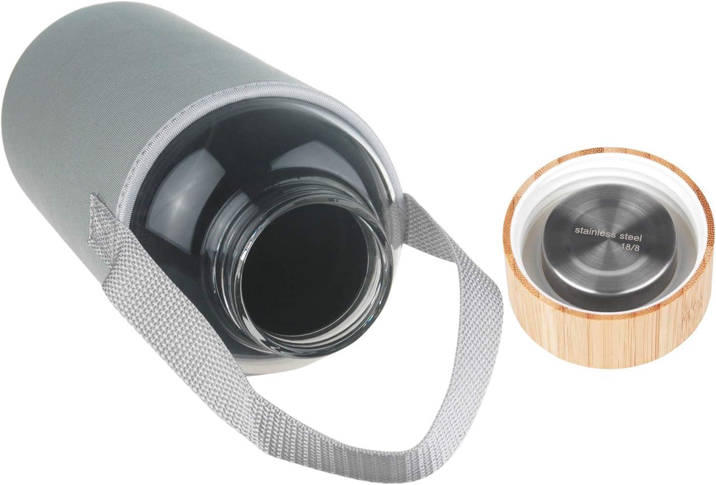 1,5 L Ferexer Botella de Agua de Cristal con Tapa de bamb/ú Funda de Neopreno 1500 ml