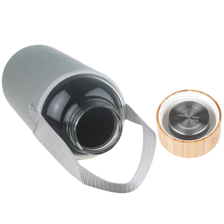 Ferexer 1.5 Liter Sport Borosilikat Trinkflasche Glas Wasserflasche mit Bambus Deckel mit Neoprenh/ülle 1500 ml 1.5 L
