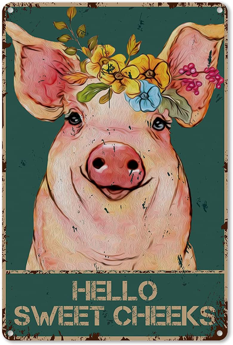 ForbiddenPaper Funny Bathroom Quote Metal Tin Sign Wall Decor - Vintage Hello Sweet Cheeks Pig with Flowers Tin Sign for Toilet Bathroom Washroom Decor Gifts - Best Farmhouse Decor Gift - 8x12 Inch