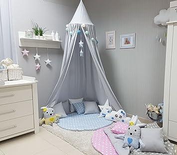 Kinderzimmer sterne grau  Babymajawelt® Betthimmel Baldachin Grau XXL Stars (Sterne ...