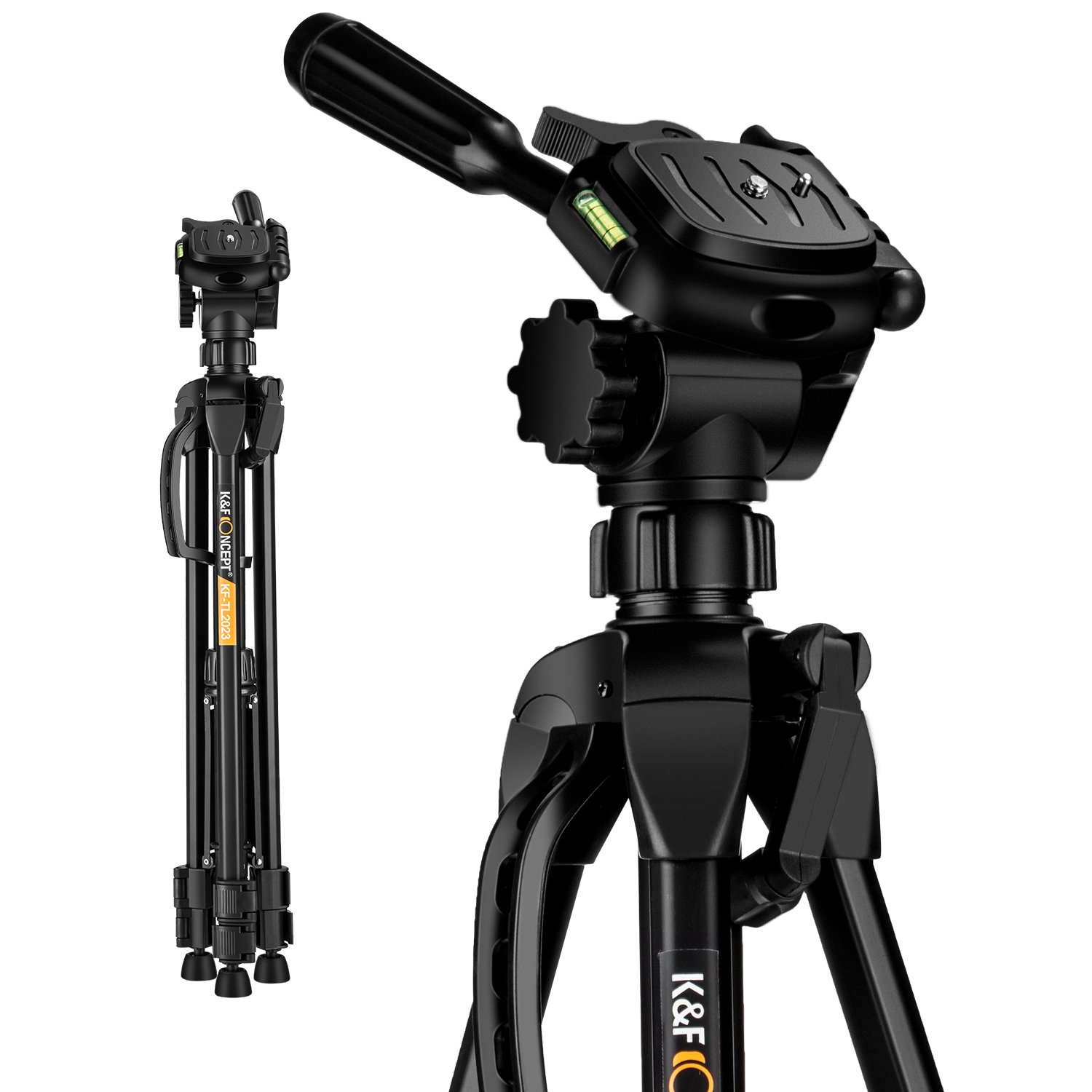 K&F Concept 60 inch Aluminum Travel Tripod with Lightweight Carry Bag for Digital SLR DSLR Canon Nikon Sony Camera TL2023