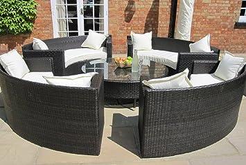 Amazing Lauren Luxury Grey Rattan Garden Furniture Set Circular Sofa Beutiful Home Inspiration Truamahrainfo
