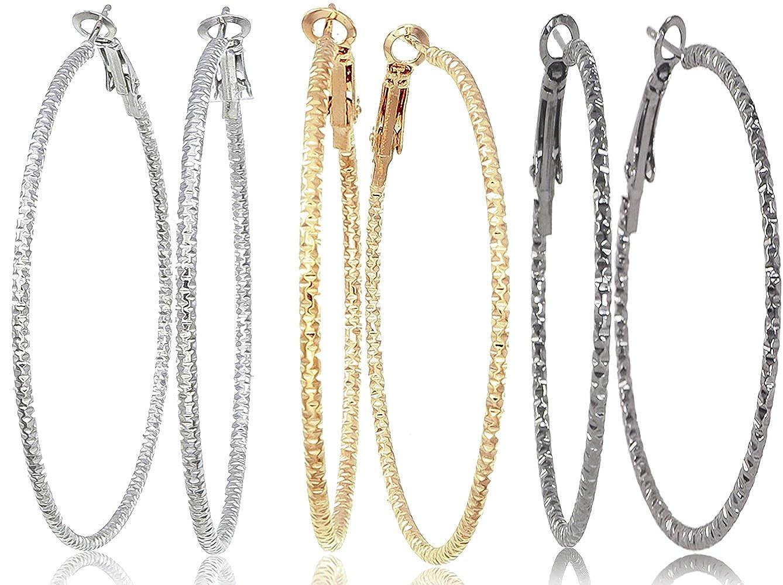 5c59f474f Amazon.com: Silver Gold Gunmetal Black Rhodium Plate Hoop Earrings Set For  Women Teen Jewelry Diamond Cut 3 Pairs: Jewelry