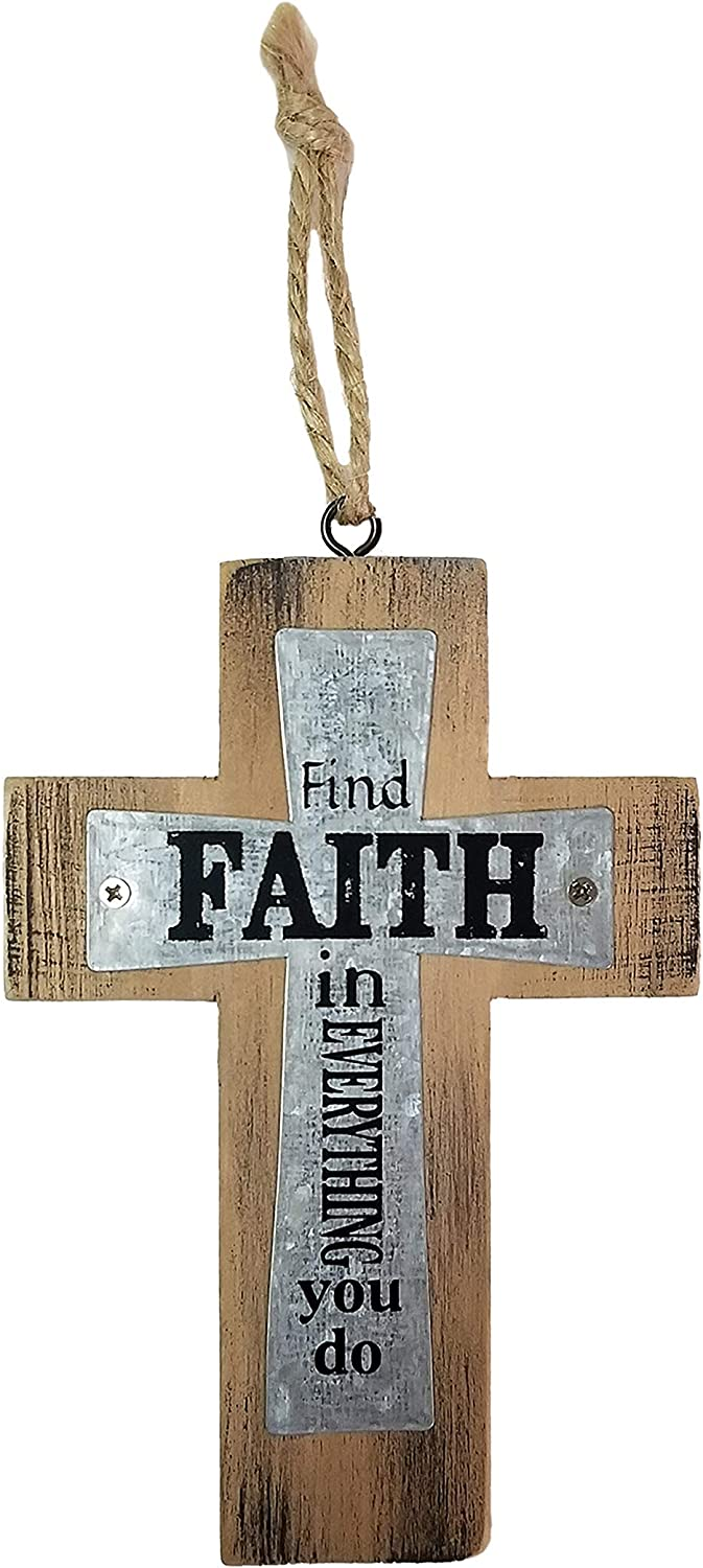 Decorative Small Wooden Metal Wall Cross, 5 Inch, Find Faith in Everything You Do, Farmhouse Decor, Inspirational Hanging Rustic Look Western Home Family Art