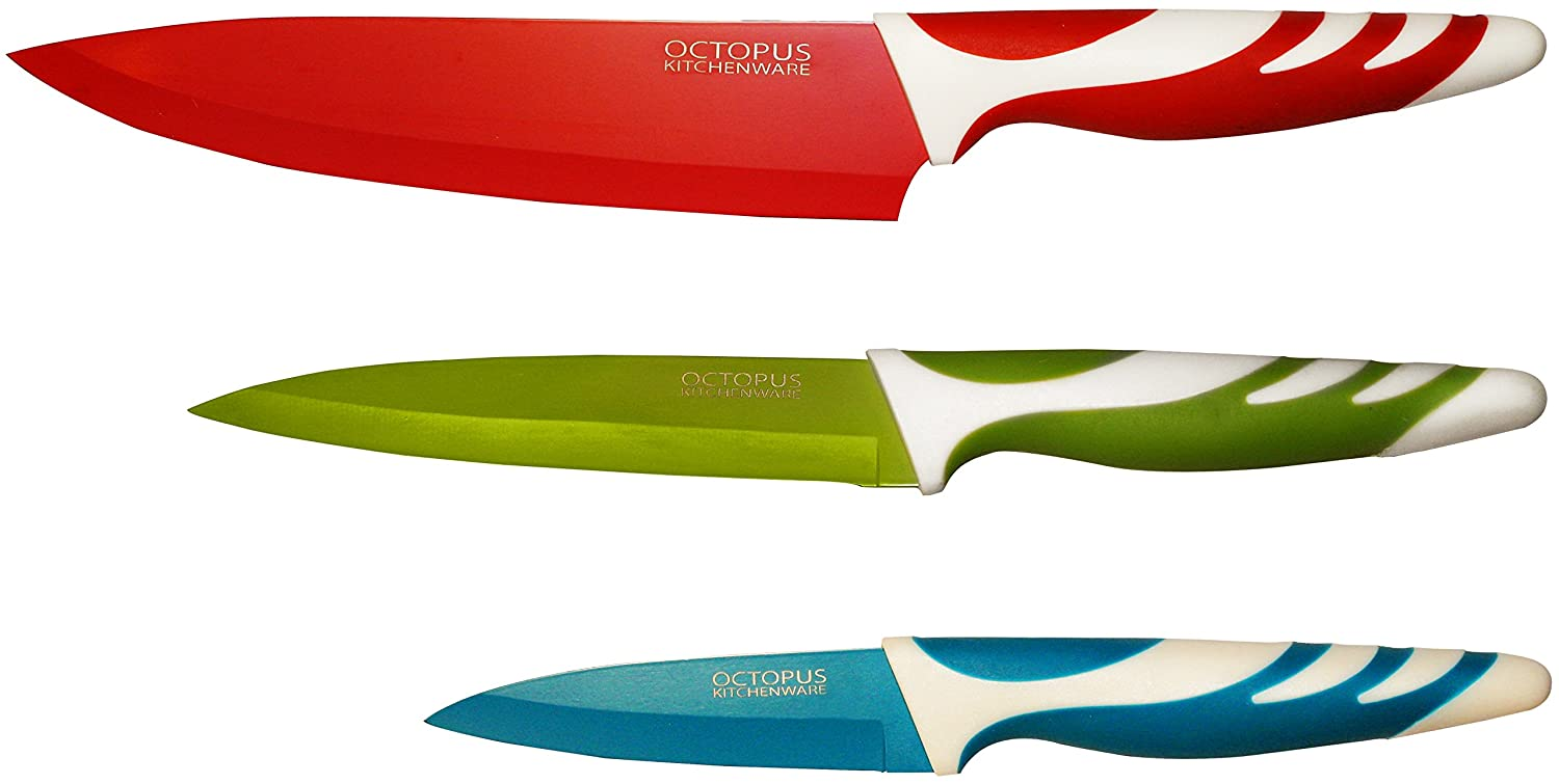 amazon com kitchen knife set 3 quality kitchen knives paring amazon com kitchen knife set 3 quality kitchen knives paring utility chef knife non stick coating for easy cutting and cleaning colored extra