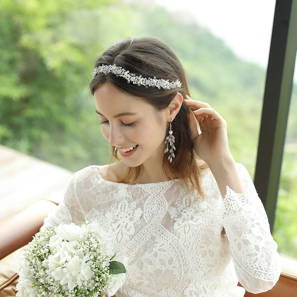Ammei Bridal Headpiece Flower Design Wedding Headband Bridal Hair Accessories (Silver) by Oriamour