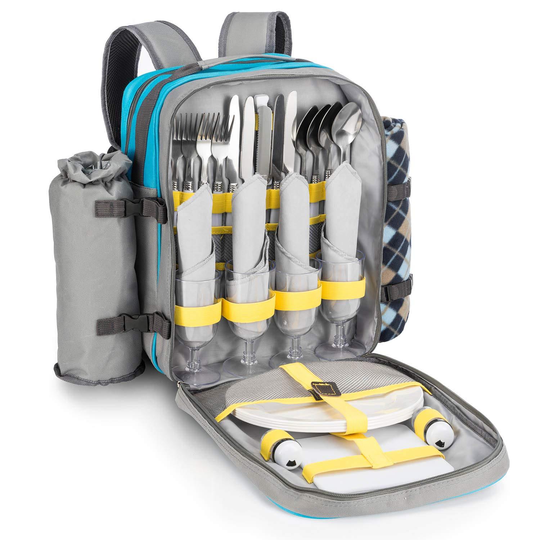 Goods & Gadgets Picknick-Rucksack für 4 Personen – mit Picknick-Decke, Besteck, Geschirr & Kühlfach