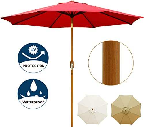 Blissun 9 Patio Umbrella Outdoor Market Table Umbrella with Push Button Tilt and Crank, Wooden Sticker Aluminum Pole, 8 Ribs Red