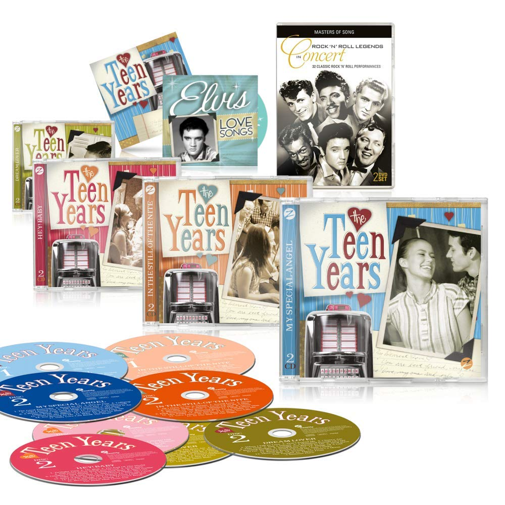 La Teen años 8 CD Set by Zestify – as seen on TV – 8 CD + Bonus CD: Elvis Love canciones + libre doble DVD: Rock 'n' Roll leyendas en concierto + folleto