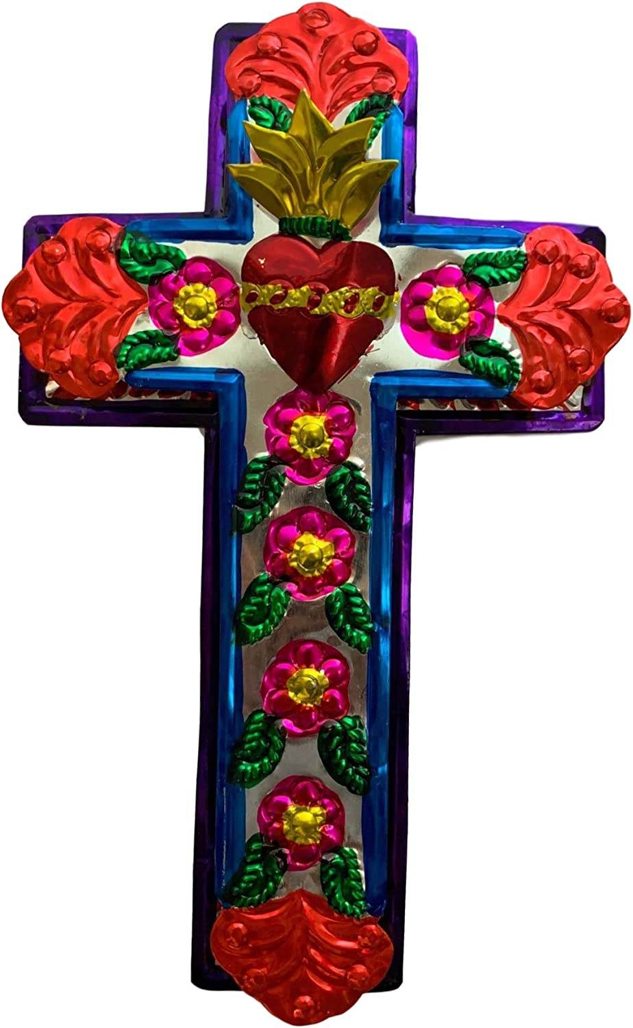 "Casa Fiesta Designs Embossed Tin Cross - Mexican Folk Art Wall Decor - Handmade in Mexico - Milagros Charm - Sacred Heart Ornament - Mexican Art - 11"" x 7"" Cruz de Metal (L)"
