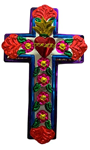 Casa Fiesta Designs Embossed Tin Cross – Mexican Folk Art Wall Decor – Handmade in Mexico – Milagros Charm – Sacred Heart Ornament – Mexican Art – 11 x 7 Cruz de Metal L