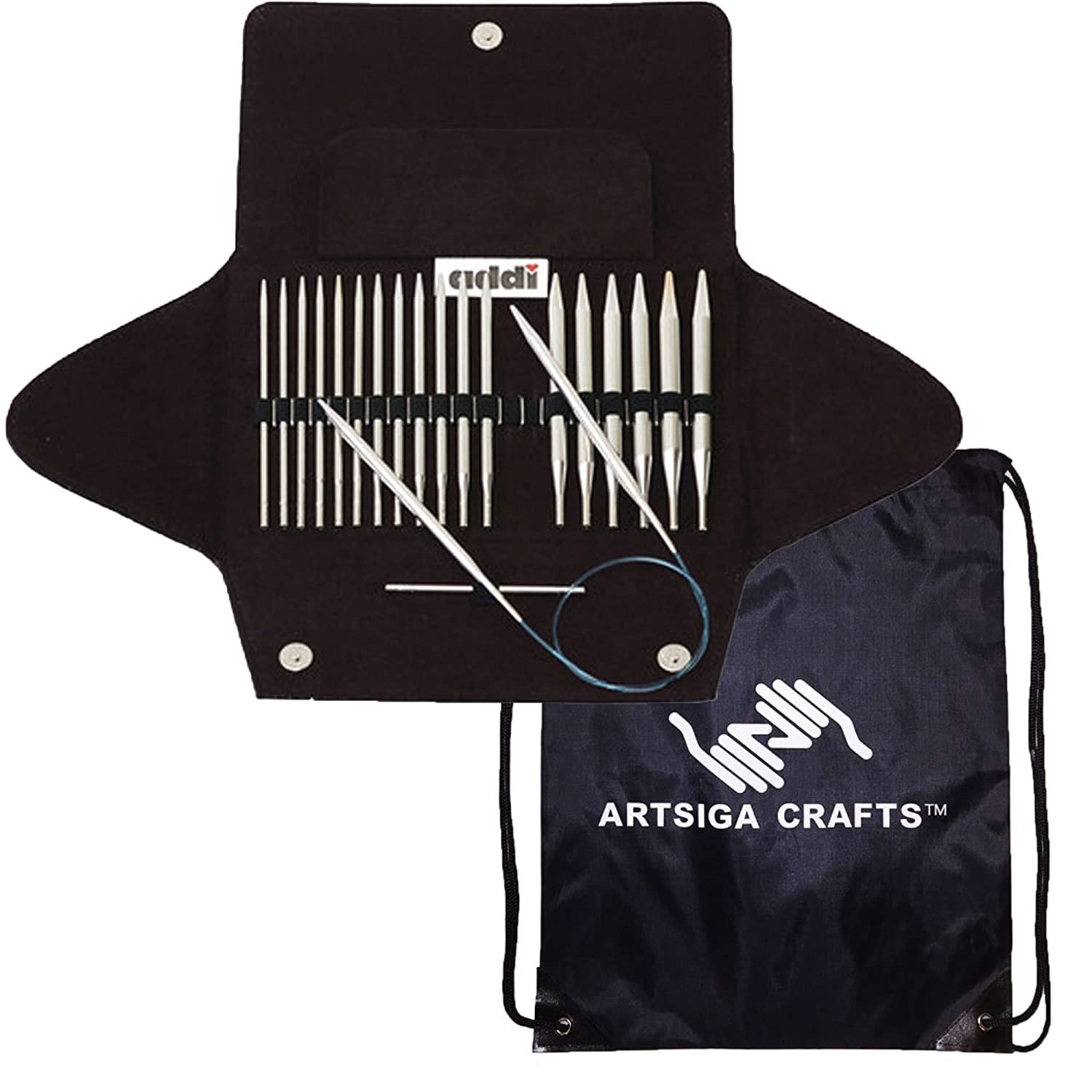 addi Knitting Needles Click Basic Interchangeable Circular System White-Bronze Finish Skacel Exclusive Blue Cords Bundle with 1 Artsiga Crafts Project Bag