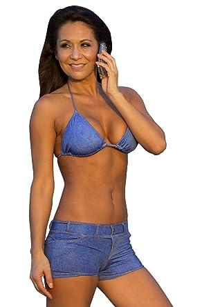 90ed6f751b74 Amazon.com: UjENA Baby Blue Jean Triangle Top Swimwear: Clothing