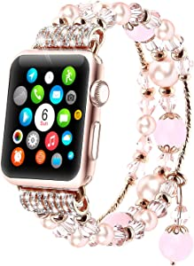 Tomazon Bracelet Band Compatible for Apple Watch 40mm 38mm Series SE/6/5/4/3/2/1, Fashion Handmade Elastic Stretch Pearl Beads Replacement iWatch Wristbands for Women Girl, Pink