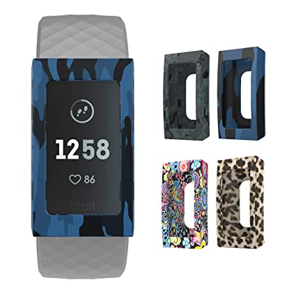 MoKo Band Cover for Fitbit Charge 3, [4-Pack] Soft Silicone Replacement  Printed Cover Sleeve Protector Case Decoration Accessory for Fitbit Charge 3