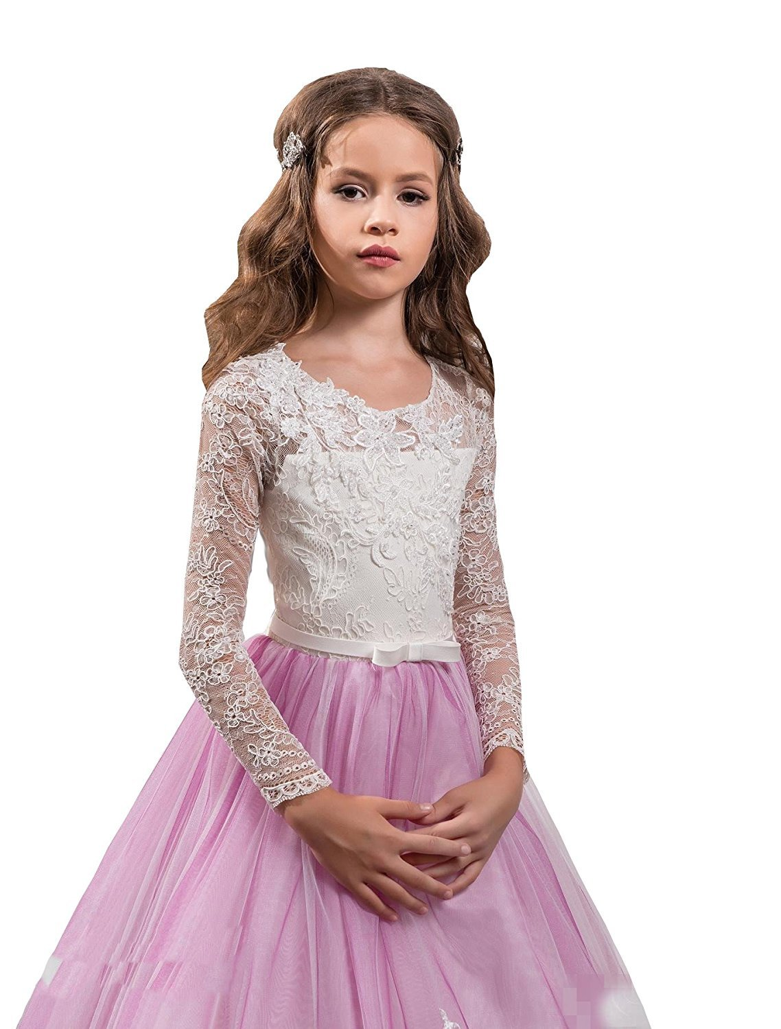 Nina Pink Ivory Flower Girl Dresses Appliques Floor Length Cute Kids Party Prom Dress For Wedding Baby Toddler Tutu Gown (3)