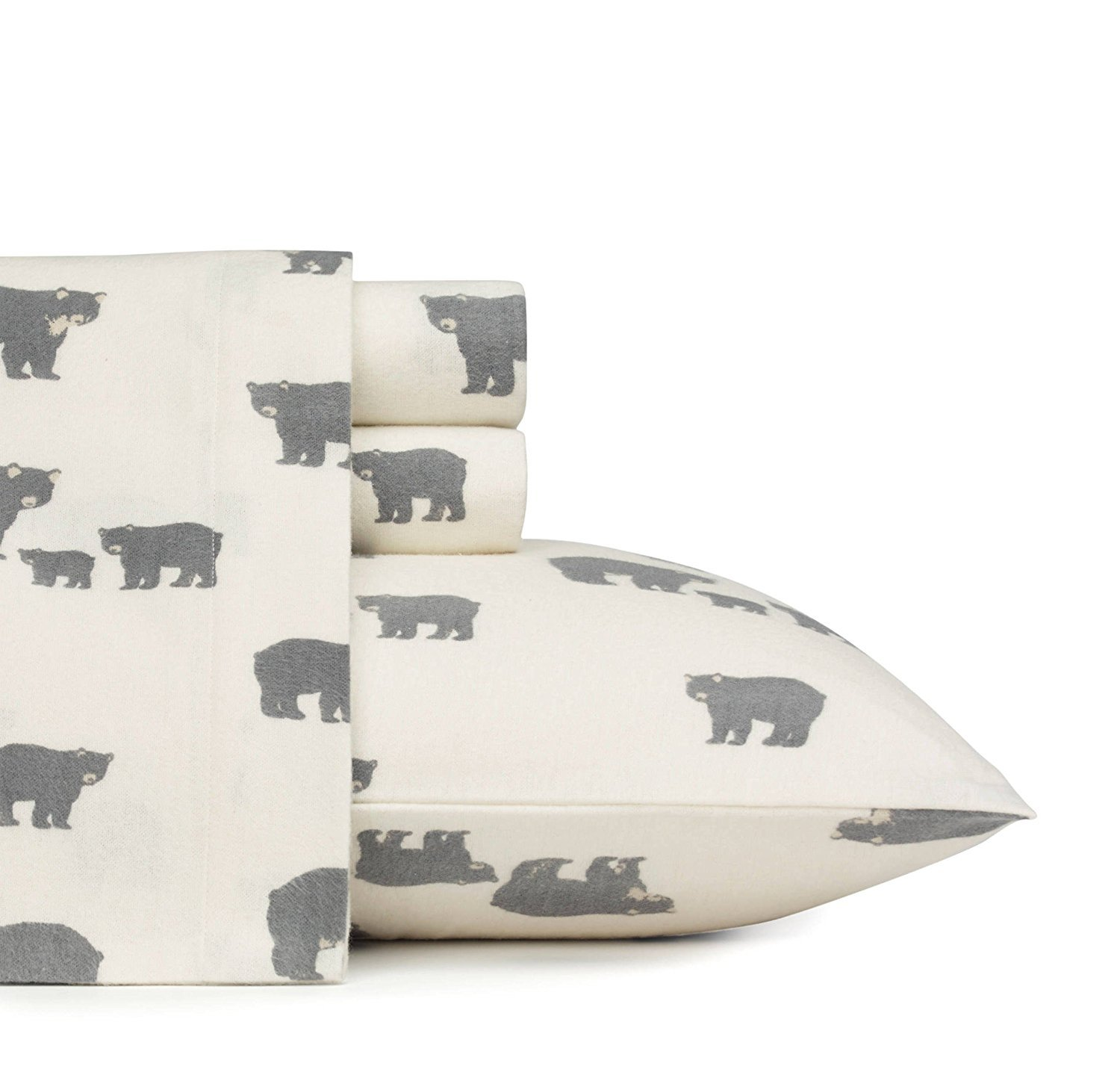 MISC 4pc Ivory Cozy Black Wild Bears Theme Sheets Set Full Sized, Elasticized Fitted,, Deep Pocket, Southwestern, Animal Lodge Cottage, Cotton Flannel