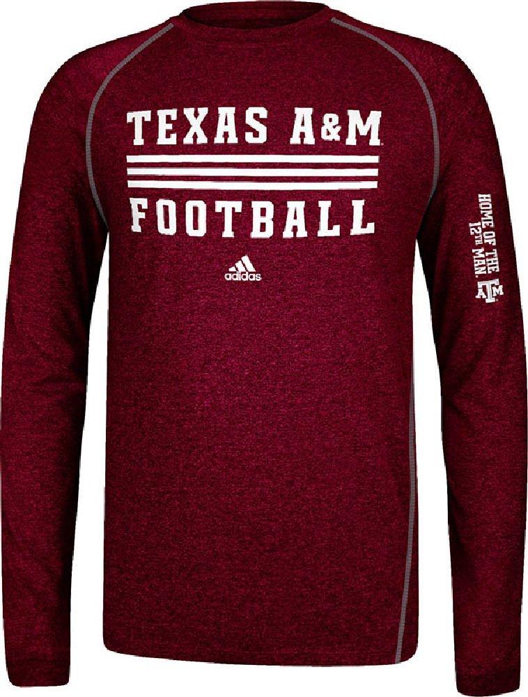 975ce8b13c53 Amazon.com   adidas Texas A M Aggies Sidelines Evade Heather Maroon  Climalite Long Sleeve Shirt   Sports Fan T Shirts   Sports   Outdoors
