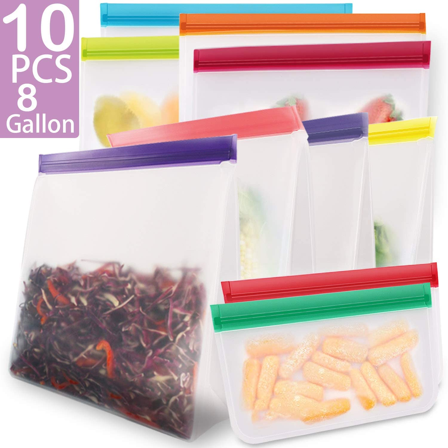 KYONANO Reusable Gallon Bags 8 Pack + Reusable Sandwich Bags 2 Pack, BPA Free Reusable Ziplock Freezer Bags, Leakproof Eco-Friendly Reusable Food Storage Bags for Snack Fruit Marinate Meat