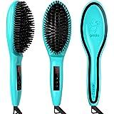 Gisala Metal Ceramic Heater Hair Straightening Brush,Auto Lock,Anti Scald,Zero Damage,Adjustable Temperature,Instant Heat Up Professional Hair Straightener(Cyan and Golden)
