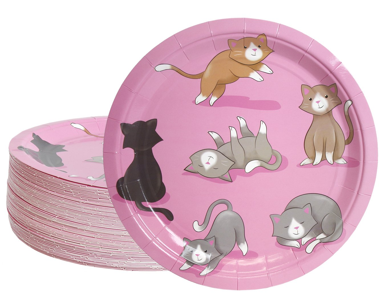 Disposable Plates - 80-Count Paper Plates, Cat Party Supplies for Appetizer, Lunch, Dinner, and Dessert, Kids Birthdays, 9 inches in Diameter by Blue Panda