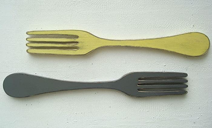 Amazon.com: Super Sized set of 2 wood fork and spoon wall art pieces ...