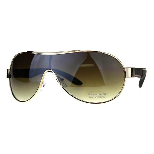 18fe5976e0e Mens Oversize Shield Racer Pilots Metal Rim Designer Sport Sunglasses Gold  Black Brown