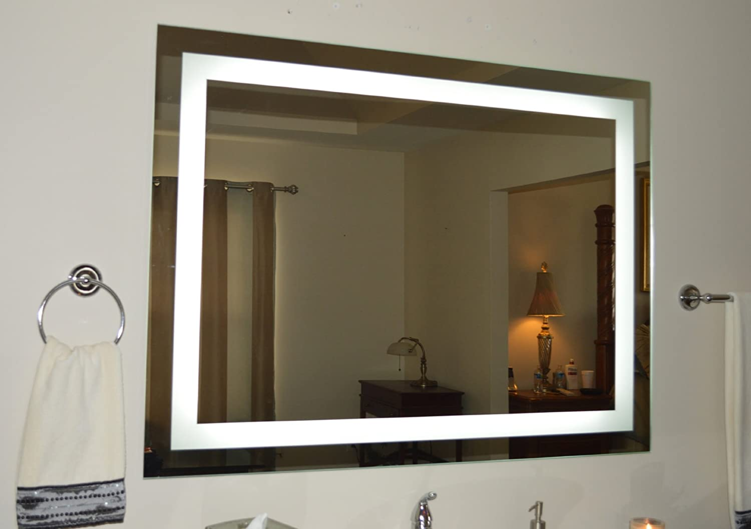 mirror 20 x 36. amazon.com: wall mounted lighted vanity mirror led mam84836 commercial grade 48: home \u0026 kitchen 20 x 36