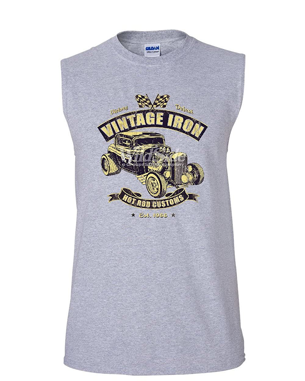 Tee Hunt Vintage Iron Hot Rod Customs Muscle Shirt Retro Muscle Car Route 66 Sleeveless