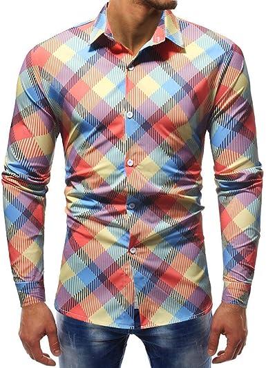 Camisa Estampada A Cuadros Camisa Deportiva Hombre para Festiva Ropa De Solapa Colorida Camisa De Negocios De Boda Camisa De Mezclilla De Moda Streetwear Ocio Casual Manga Larga Slim Fit Tops Blusa: