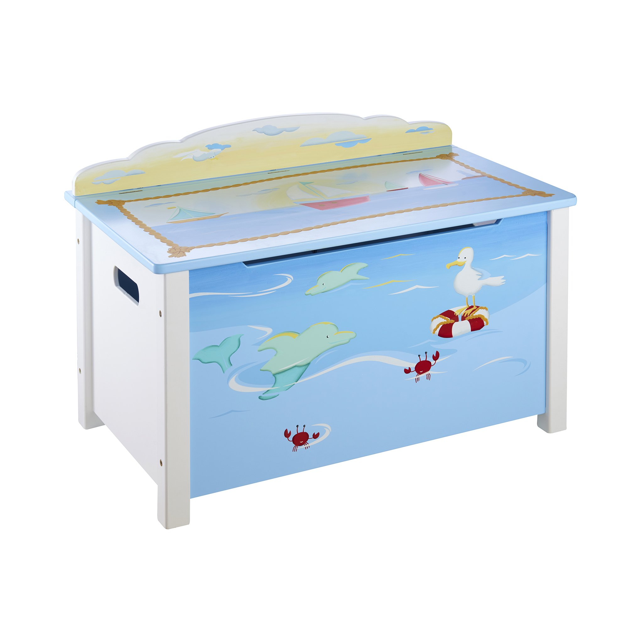 Guidecraft Wood Hand-Painted Sailing Toy Box - Toy Chest & Storage, Kids furniture