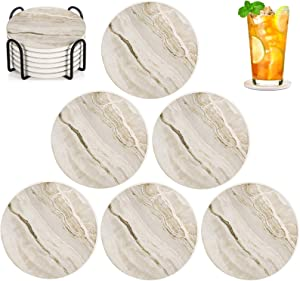 EASYLEE Coasters Absorbent Ceramic Stone Coasters set for Drinks,Glass Cup Holder Coffee Mug Place Mats with Cork Base Protect Furniture,Suitable for Kinds of Mugs and Cups (6 Packs & Holder)