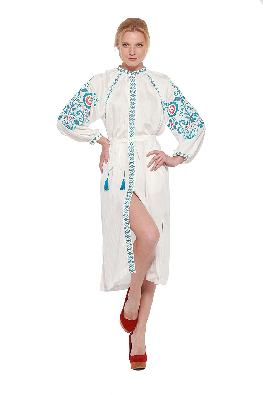 Embroidered Long Dress milk woman. Vyshyvanka. Ukrainian staple dress
