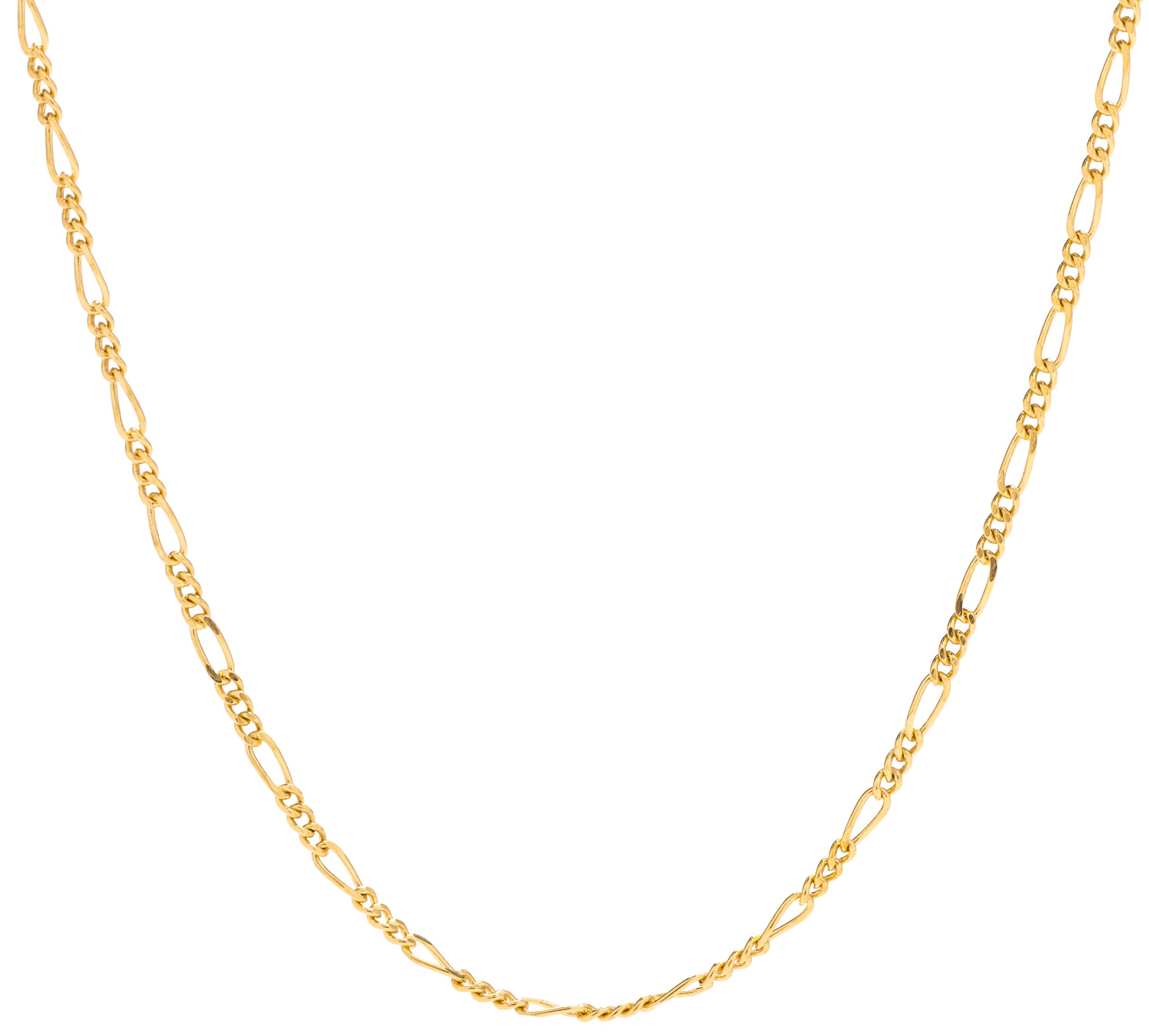 Lifetime Jewelry Figaro Chain 1.5MM, 24K Gold with Inlaid Bronze, Premium Fashion Jewelry, Pendant Necklace Made Thin For Charms, Guaranteed for Life, Short 16 Inches
