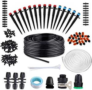 TRENDWIND Drip Irrigation System Kits Garden - 138ft Micro Automatic Plant Watering System with Adjustable Nozzle Sprinkler Sprayer Dripper for Landscape, Flower Bed, Patio Plants,Greenhouse,Lawn