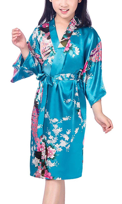 Dolamen Kid's Girl's Dressing Kimono Gown Kimono Robe, Silk Satin Peacock and Blossoms Robe Bathrobe for Spa, Swimming Wedding Birthday Ages Nightwear Pyjamas