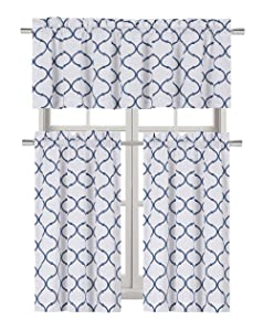 Regal Home Collections Shabby Lattice Kitchen Curtains - Assorted Colors & Sizes (Hunter Navy, Complete Kitchen Curtain Set)