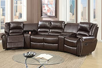 Delightful 5pcs Brown Bonded Leather Reclining Sofa Set Home Theater Sectional Sofa  Set With Two Center Consoles