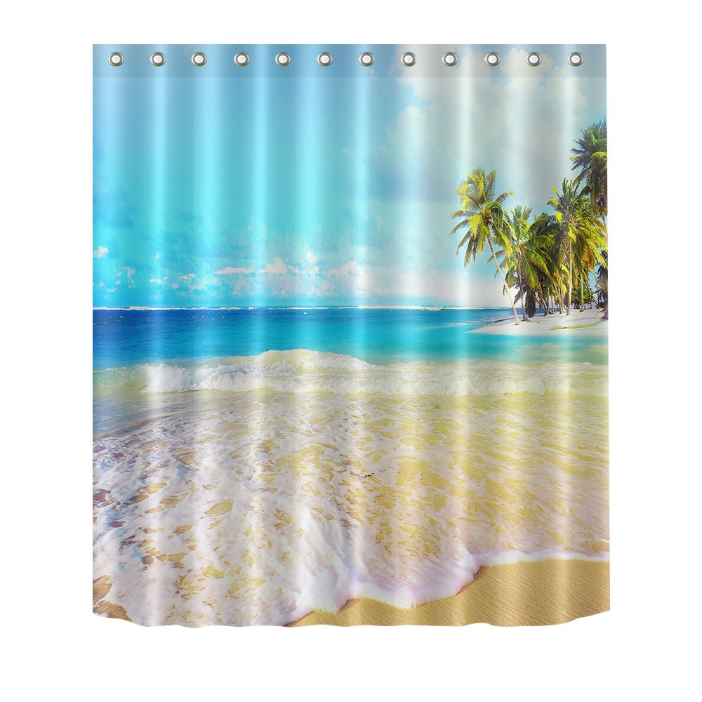 LB Seashore SeaSand Shower Curtain Home Decor150W X180H60W X72H InchWaterproofPolyester FabricBathroom Decor With Hook Amazoncouk
