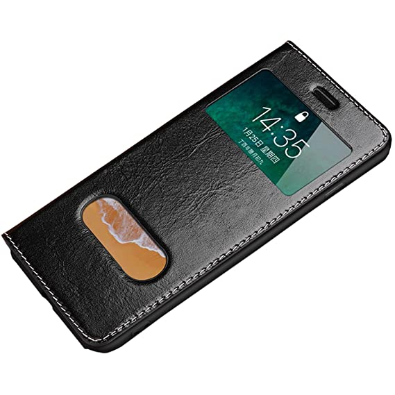 buy online 5e55f 0ed39 for iPhone Xs MAX Case, Ultra Thin Flip Cover Case Dual Window View Stand  Feature Genuine Leather Phone Case for Apple iPhone Xs MAX 6.5inch(Black,  XS ...