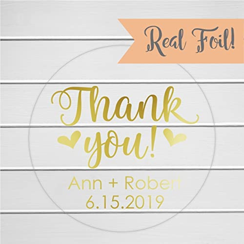 amazon com thank you wedding favor stickers clear personalized