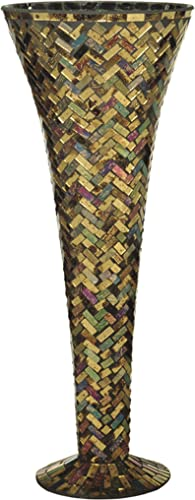 Dale Tiffany PG10258 Art Glass Vase from Herringbone Collection in Bronze Dark Finish, 7.75 inches, 7-3 4-Inch by 20-Inch, Multicolored