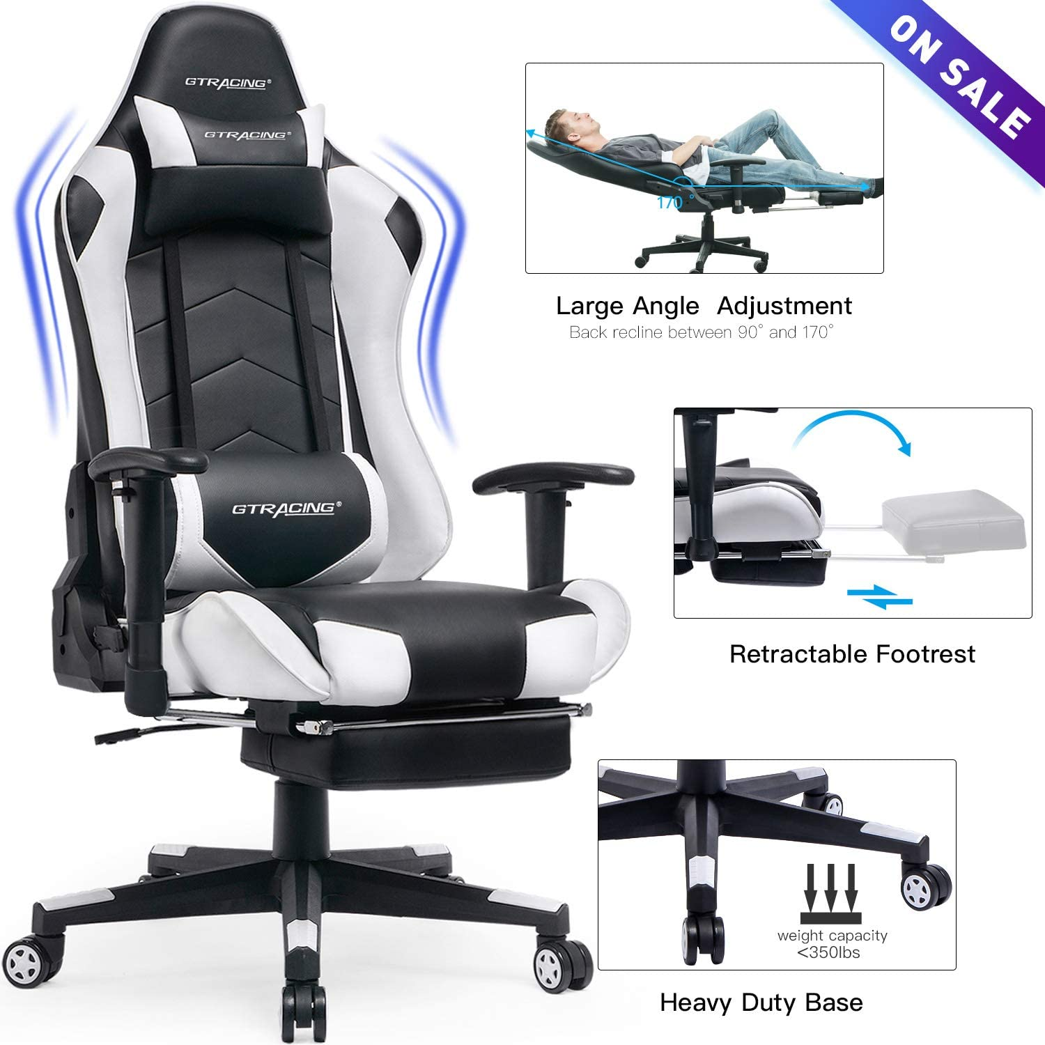 GTRACING Big and Tall Gaming Chair with Footrest Heavy Duty Adjustable Recliner with Headrest Lumbar Support Pillow High Back Ergonomic Leather Racing Computer Desk Executive Office Chair GT901 White